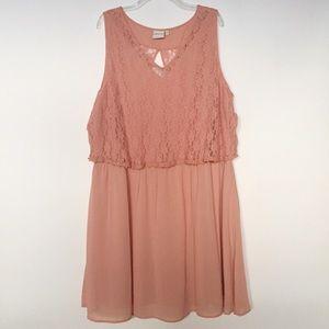 Junarose Blush Layered Lace Cutout Dress